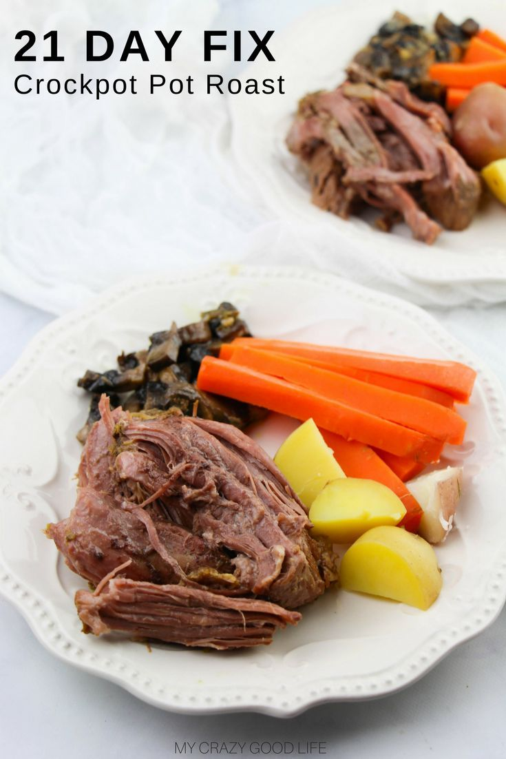 Making a healthy pot roast is easier than you think! This delicious pot roast recipe is quick and easy. Perfectly healthy and great for the 21 Day Fix. #recipes #21dayfix #crockpot