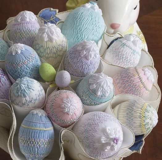 "Smocked Easter eggs, from a magazine called ""A Needle Pulling Thread""  Vol 2 Issue 2 - Spring 2007"
