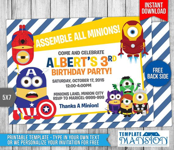 This Instant Download is for a Minions Avengers Birthday Invitation. You have (2)Two Options. First Option is we can personalize your invitation