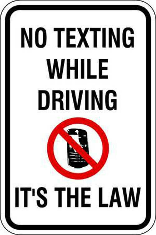 "2486 ZING No Texting While Driving Sign Create organized and informative parking areas with Green Eco Parking Sign ""No Texting While Driving"". Sign is highly visible with 3M Reflective Sheeting and is"