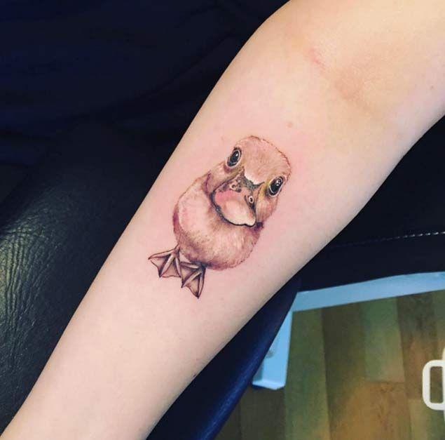 Hyperealism Baby Duck Tattoo by David B