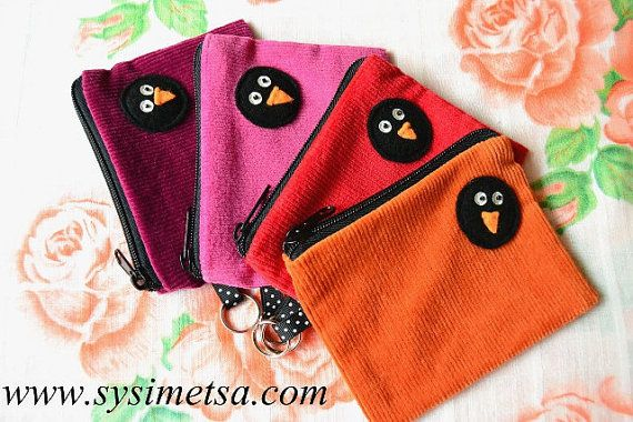 Pink Corduroy Felt Penguin Zipper Pouch With Key Ring by TaikaLand