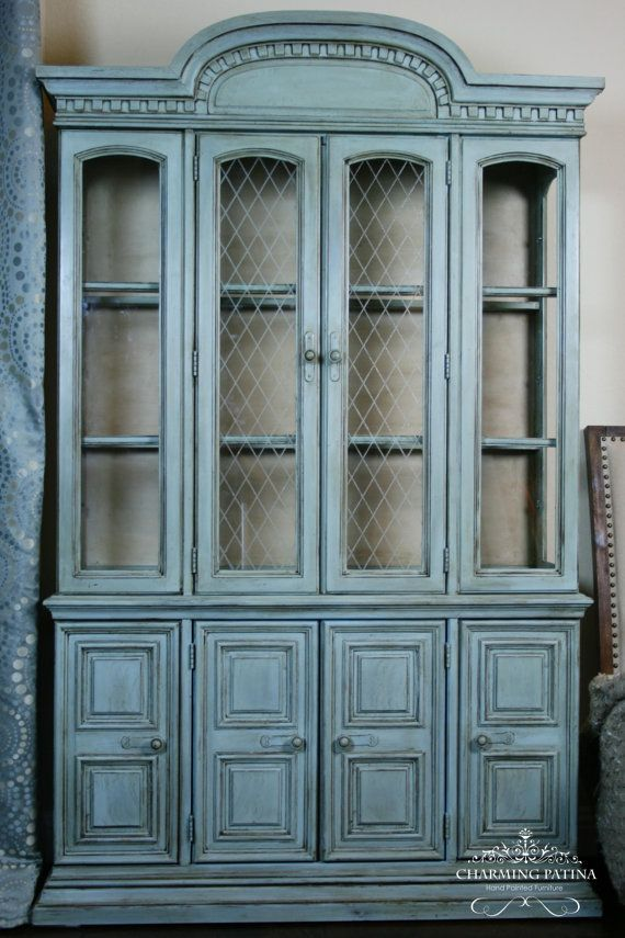 Designs By Charming Patina   Hand Painted China Cabinet In Annie Sloane  Chalk Paint In Duck