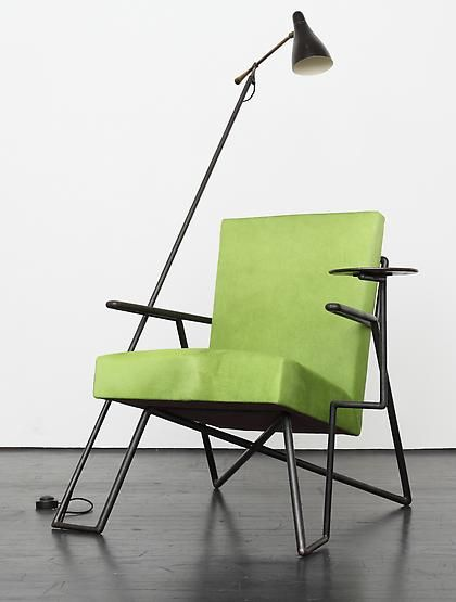 Jacques Adnet; Metal Armchair with Reading Light and Swivel-Arm Table, c1950.
