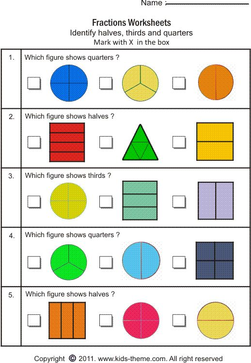Fractions Worksheets For 3th Graders