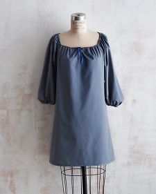Martha Stewart: Free Pattern for cotton or linen. Can be made into a dress, tunic or shirt and sleeves are customizable to short or 3/4 length. Small/ Medium and Large Sizes included.