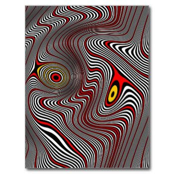 An eye distorted by the aura of a migraine seems to be in endless pulsating motion in this op art design.