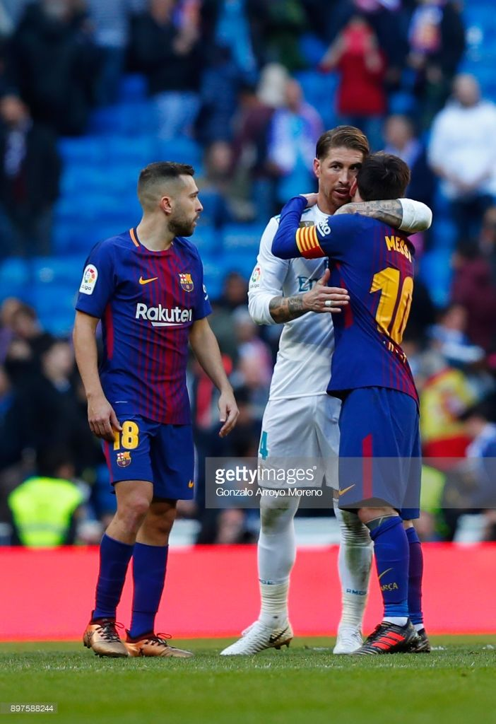 Sergio Ramos of Real Madrid and Lionel Messi of Barcelona embrace after the  La Liga match between Real Madrid and Barcelona at Estadio Santiago Bernabeu  on ... 77b2fb96e32