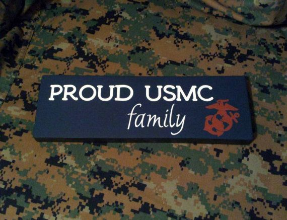 "Wood Sign ""Proud USMC Family"" Marine Corps, Military, Home Decor, Wall Decor on Etsy, $15.99"