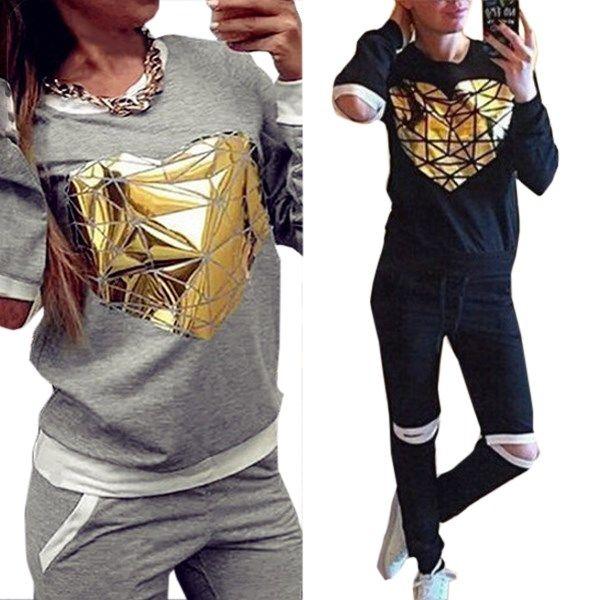 Goedkope 2016 nieuwe trainingspak kleding uitsnede hoodies set golden heart jogging sport pak sport kostuums vrouwen sweatshirt + broek, koop Kwaliteit hoodies en sweatshirts rechtstreeks van Leveranciers van China:    Materiaal: katoen mixPakket zijn onder meer: sweatshirt 1 + 1 broekKleur: zwart, grijsonsmlxlGroot-brittannië/a