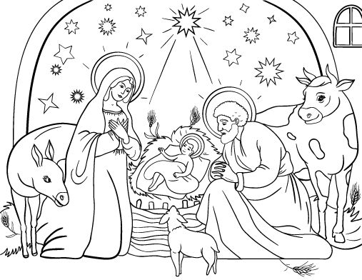 Printable Nativity coloring page. Free PDF download at http://coloringcafe.com/coloring-pages/nativity/