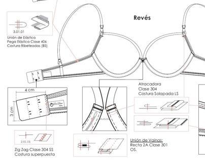 Fichas técnicas realizadas para la cátedra Camargo de técnicas de producción Indumentaria, FADU.