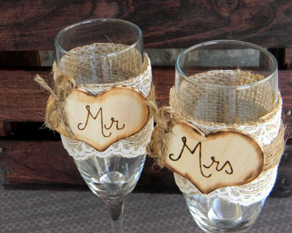 Mr. & Mrs. Glasses Champagne Flutes Rustic Woodland Shabby Chic. $28.00, via Etsy.