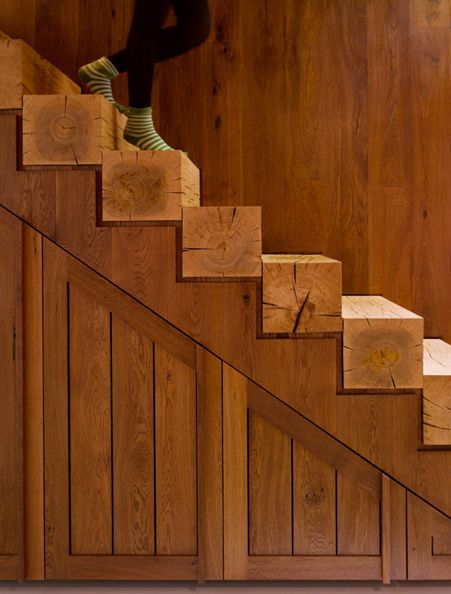 Raw wood steps
