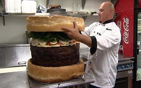 Not Yum, but gross. The world's biggest burger saw it on MAN VS FOOD