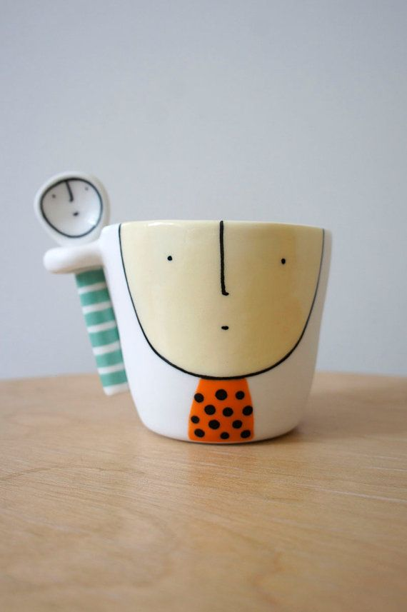 Cup and Spoon Friends ceramic porcelain by vanessabeanshop #funny #ceramics
