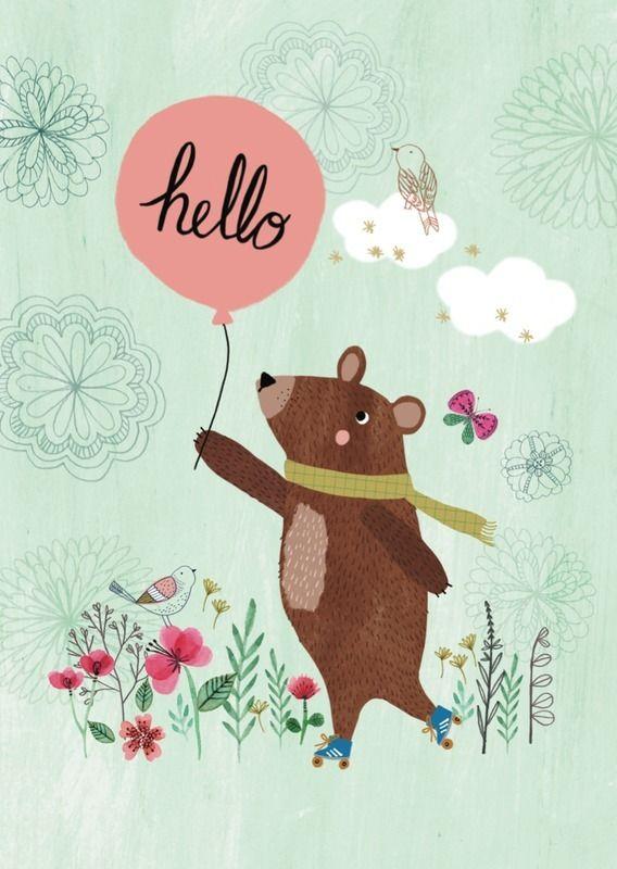 Poster Hello bear mintgroen Een leuk poster met vriendelijke bruine beer, zeer geschikt om de kinderkamer mee te decoreren. Ook verkrijgbaar als ansichtkaart. Ontwerp: Rebecca Jones, A4 formaat. decoratie kinderkamer babykamer