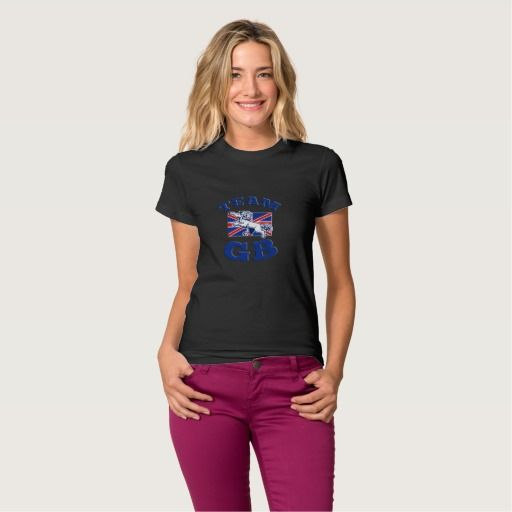 Team GB Lion sitting GB British union jack flag Shirt. Rugby World Cup women's t-shirt with an illustration of a lion sitting on fours with Great Britain union jack flag in background. #rwc #rwc2015 #rugbyworldcup