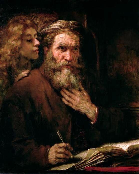 Rembrandt van Rijn (b,1606)- St Matthew & Angel |*❁·̩͙✶ pin: 0palekidz0 *❁·̩͙✶