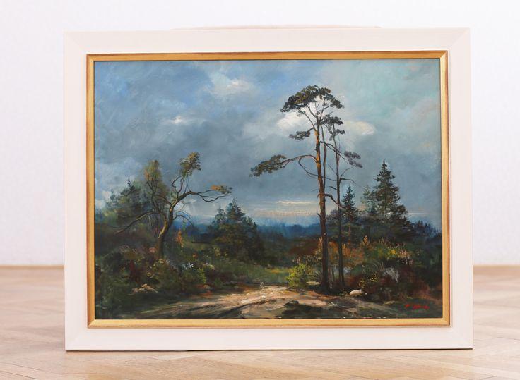 Custom Faming Oil on Canvas F. V. Hauk in white gold wooden frame #customframing #framing #rámování #rámařství #obrazy