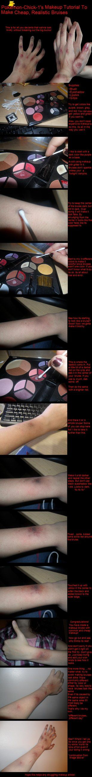 Just a tutorial for people that wanted to know how I make my makeup bruises. Its really easy but its easier to show them than explain. Yeah I use normal makeup. This stuff gets used for special eff...