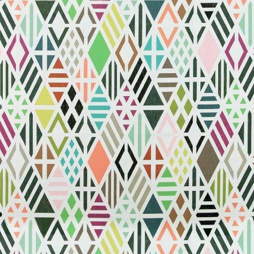 Bomuld offwhite m multifarvet mønster