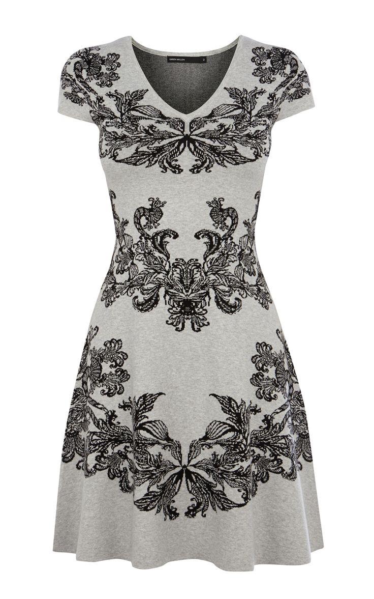 Working Wardrobe | JACQUARD KNIT DRESS | Karen Millen
