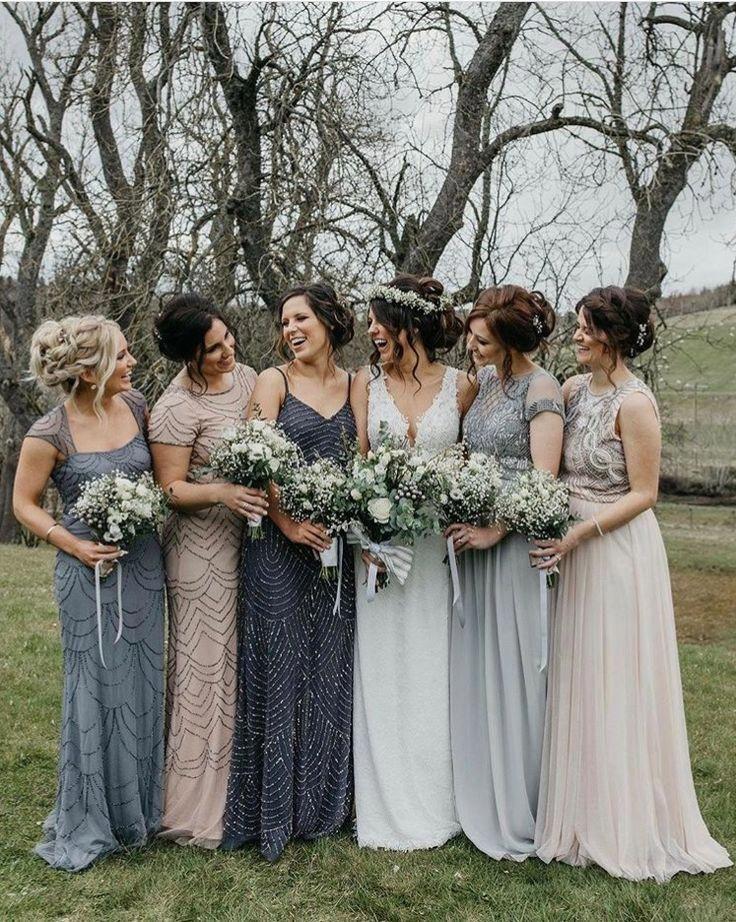 Mismatched neutral bridesmaid dresses fo…