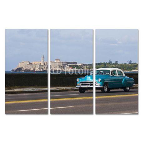 Tryptyk obraz trzyczęściowy na płótnie - Amerykański samochód - w pełnym kolorze z pięknym krajobrazem w tle #fedkolor #obrazzezdjęcia #poliptyk #tryptyk #obraznapłótnie #sztuka #art #fotografia #twojezdjęcie #dekoracja #ozdoba #naścianę #dodomu #dopokoju #dosalonu #samochody #samochód #car #niebieski #widoki #pejzaż #krajobraz #diy