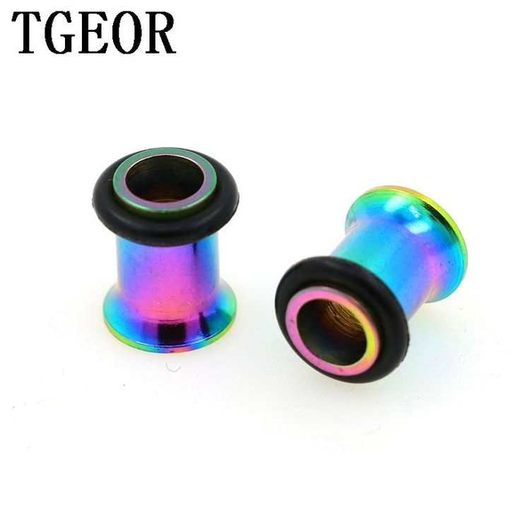 Hot wholesale body jewelry 240pcs mixed 8 sizes titanium plated rainbow Stainless Steel single flare with oring ear tunnels