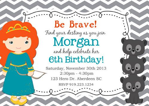 Brave Birthday Invitation Disney Brave por KawaiiKidsDesign en Etsy