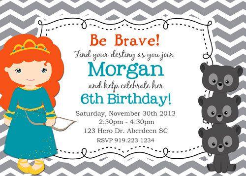 Brave Birthday Invitation Disney Brave por KawaiiKidsDesign en Etsy