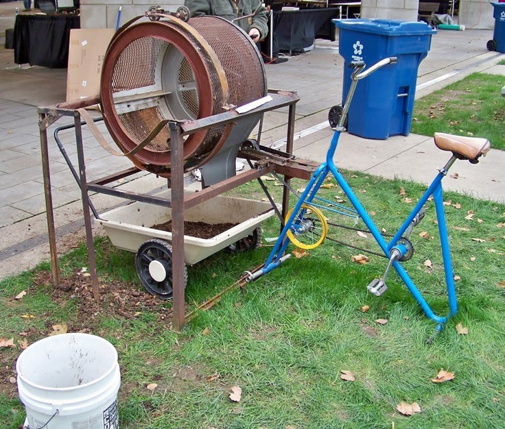 Exercise Bike That Washes Clothes: Old Washing Machine Tub + Old Stationary Bike = Compost