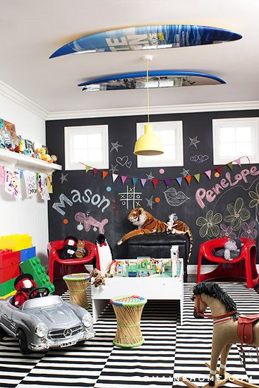 Exclusive look at Kourtney Kardashian's home. Modern playroom! From Domaine Home. #laylagrayce #playroom