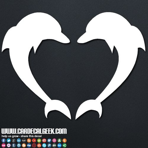 Dolphins forming a heart decal sticker