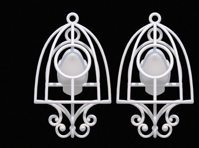 Bird in a Cage Earrings 03 by DenisS 3d printed jewellery