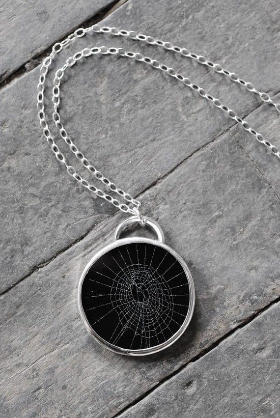 even though i hate spiders and i find them to be useless, i think this necklace is quite amazing. an actual web is placed inside.