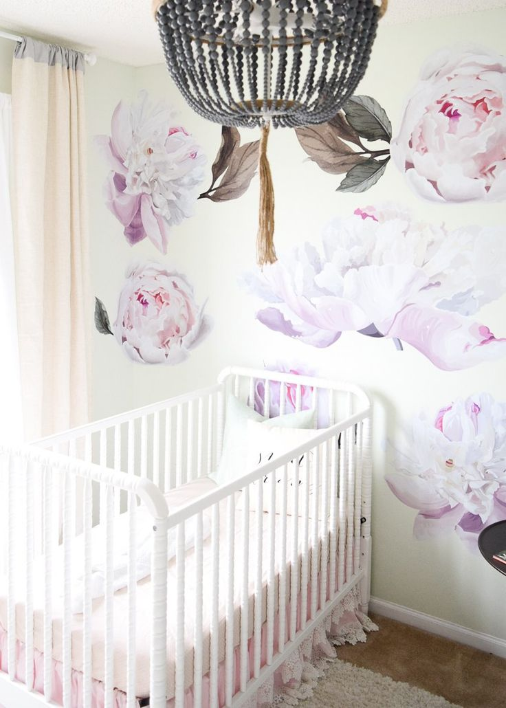 DaVinci Baby Jenny Lind Crib White // Baby Girl Nursery // Nursery Inspiration // Floral Nursery // Nursery Wallpaper // Nursery Light and Airy