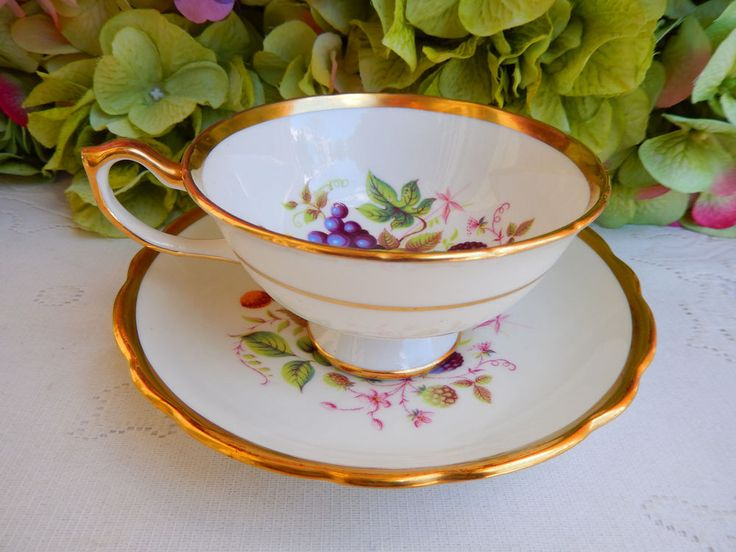 Vintage Hammersley Porcelain Cup & Saucer ~ Fruit ~ Gold Gilt #Hammersley