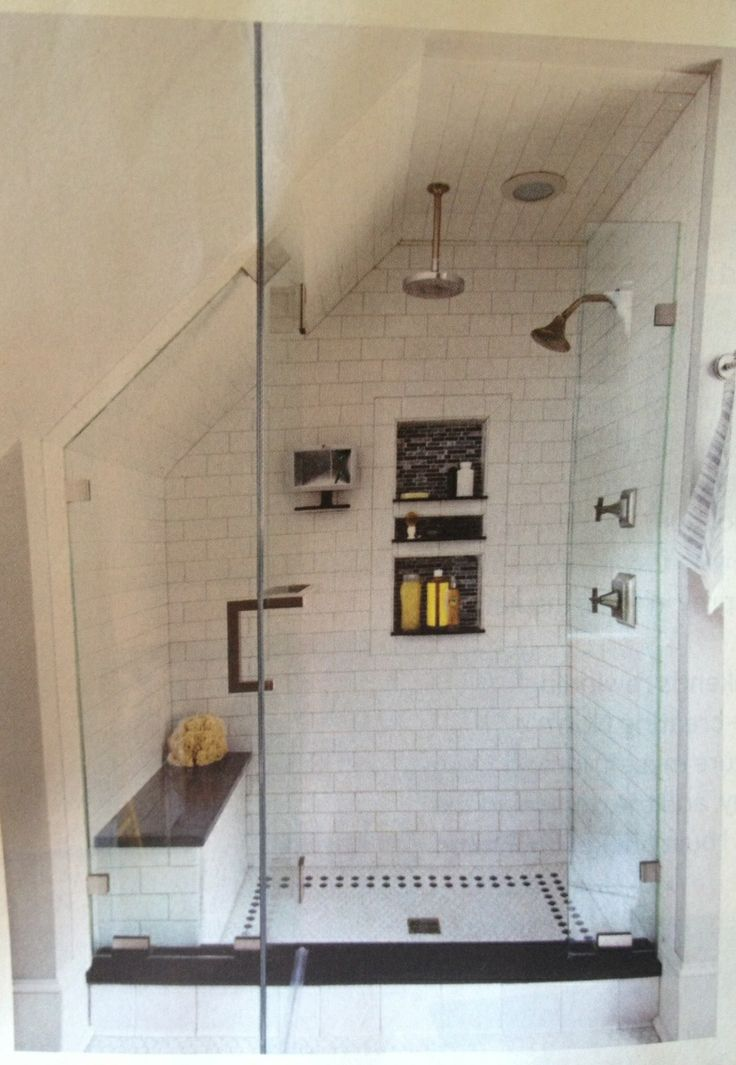Great shower incorporating a slanted roof line.