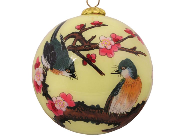 Birds on Plum Blossom Yellow Chinese Eglomise Glass Globe Ornament