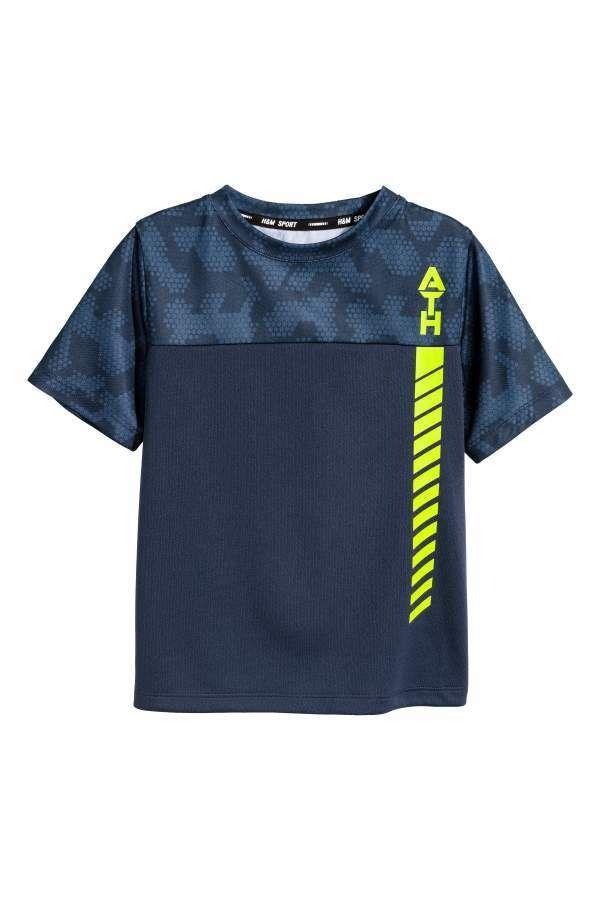 H M H M Short Sleeved Sports Top Dark Blue Kids Sports Shirts Tops Sports Top