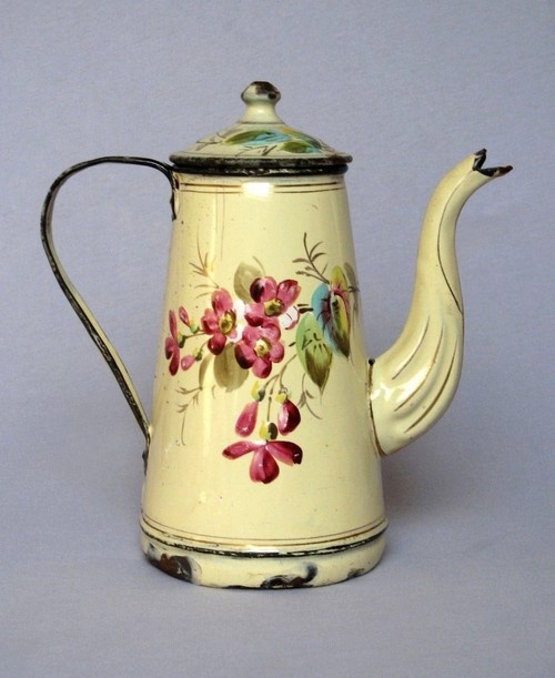 French Floral Handpainted Enamelware Coffee Pot....old and chippy....