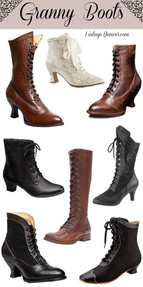 5d438d317dc Granny boots, lace up boots, witches boots, old ladies boots, wedding boots  at VintageDancer.ccom #ladiesboots