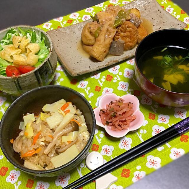 もち米100%の筍ごはん、煮物、水菜のサラダ、筍のお吸物。 - 17件のもぐもぐ - きょうの夜ごはん。 #夜ごはん #たけのこ #春 by arkksm