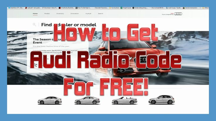 How to Get an AUDI Radio Code For FREE!  Walks you through it step by step.