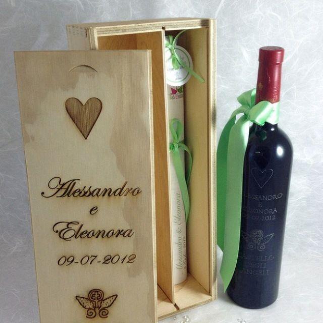 Bomboniera di vino, con scatola in legno personalizzata ...