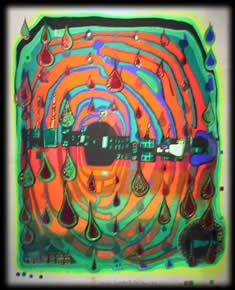 """Friedenreich Hundertwasser, odd as he was, is one of my favorite artists. """"The straight line,"""" he said,""""is godless and immoral.""""    Okay, so he was prone to hyperbole…    One of the things I love about him is that was a fanatic about STRIPES! And he adored onion domes.: Straight Line"""