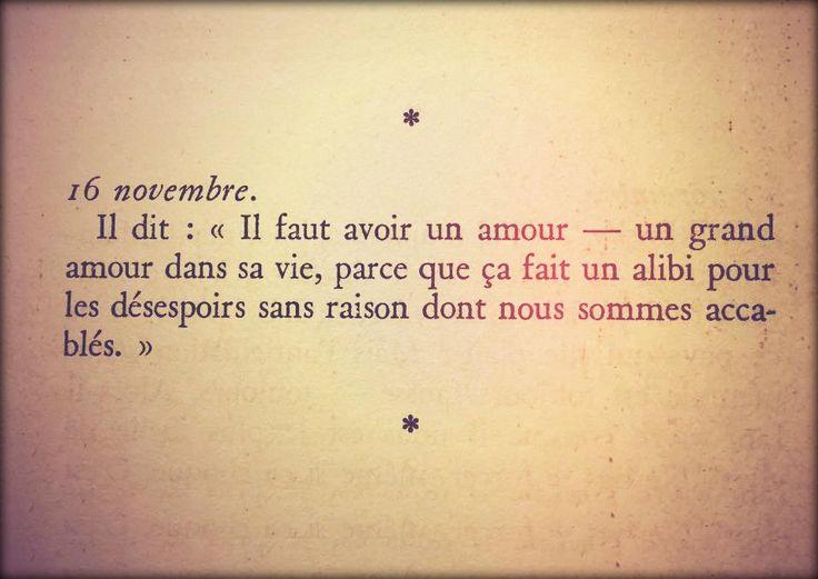 """Il dit : """" il faut avoir un amour - un grand amour dans la vie, parce que ça fait un alibi pour le désespoir sans raison dont nous sommes accablés"""". Albert Camus - Carnets (Tome 1)"""