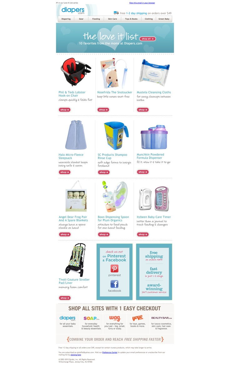 "diapers.com | Top 10 Favs. ""Check us out on Pinterest."" Perfect landing experience to the Pinterest button in this email. Takes you to their ""Fav's"" boards so you can follow. Not just a generic one."